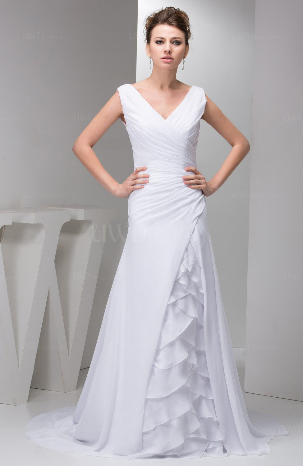 white long mother of the bride dress affordable tiered