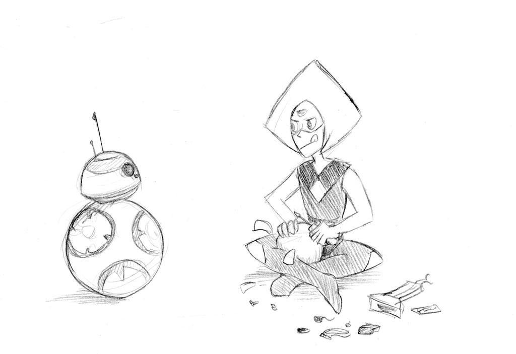 Request by Fanfiction.net user Edgar H. Sutter/DeviantArt user From Star Wars/Steven Universe crossover fanfiction Gem Wars Content shown: Peridot making a small BB-8 on her own, with robonoids and...