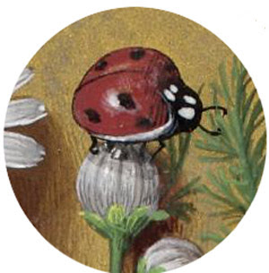 medieval painting of a ladybug