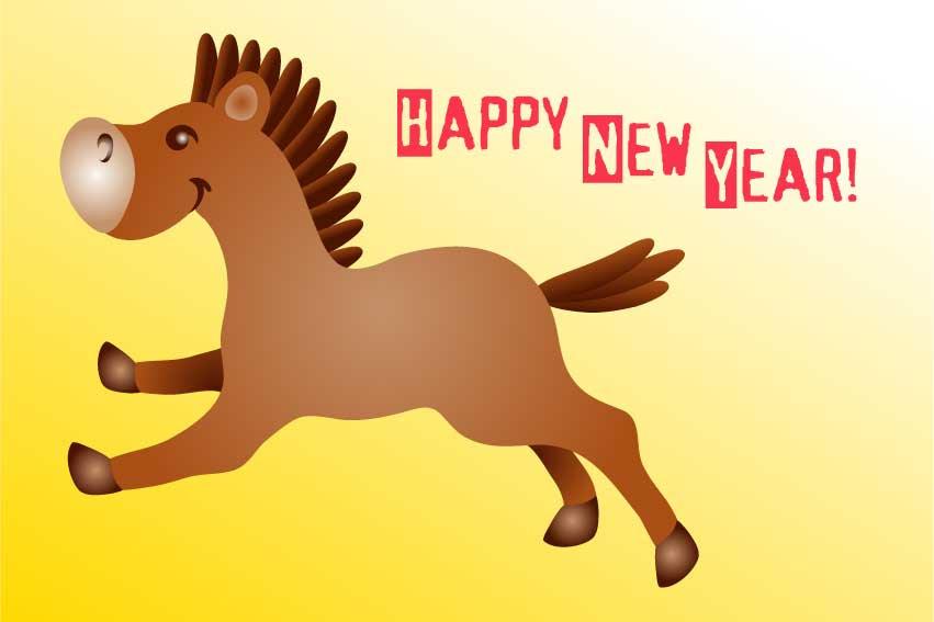 馬ウマの年賀状用イラストフリー素材集