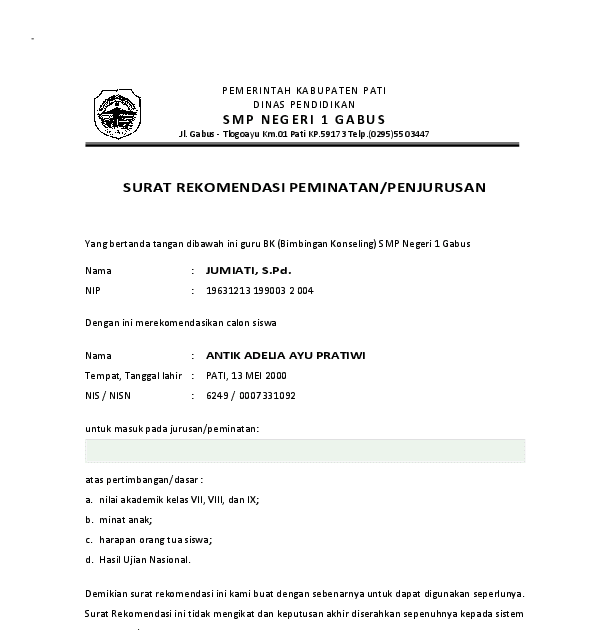 Contoh Surat Rekomendasi Kepala Sekolah Kepada Guru ...