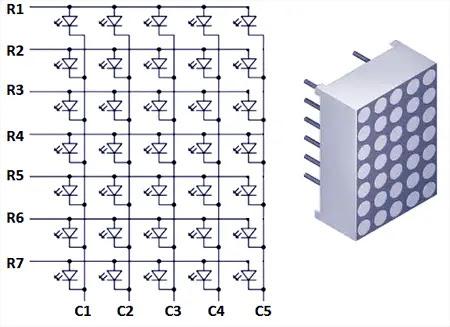 7x5 led dot matrix display