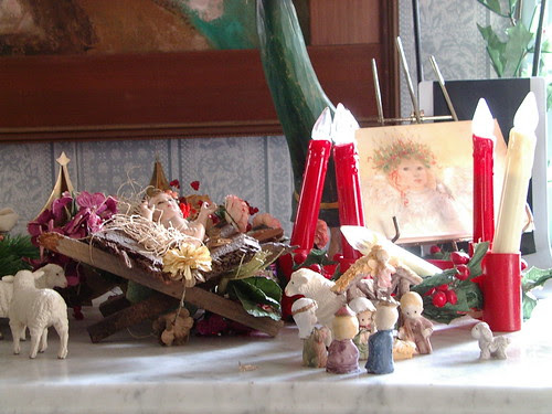 Santa Lucia and baby Jesus and nativity