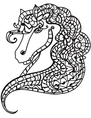 horse head zentangle coloring page  free printable