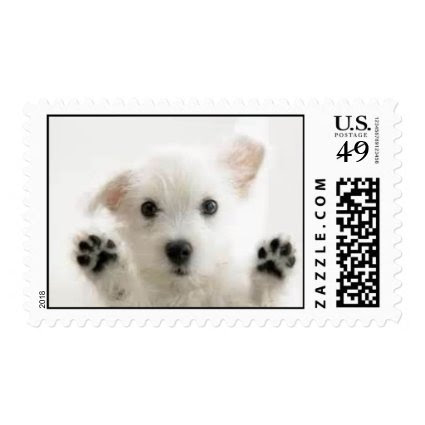 Cute White Puppy Stamp