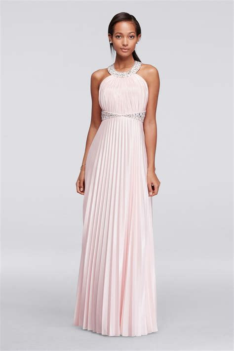 Beaded Strappy Back Halter Prom Dress with Pleats David's