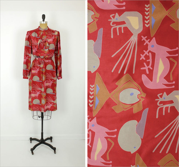 primitive animal print dress M / red cascade shirtdress