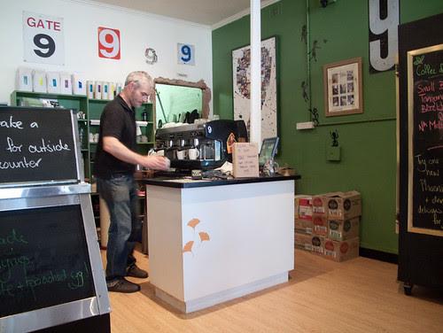 The barista hard at work