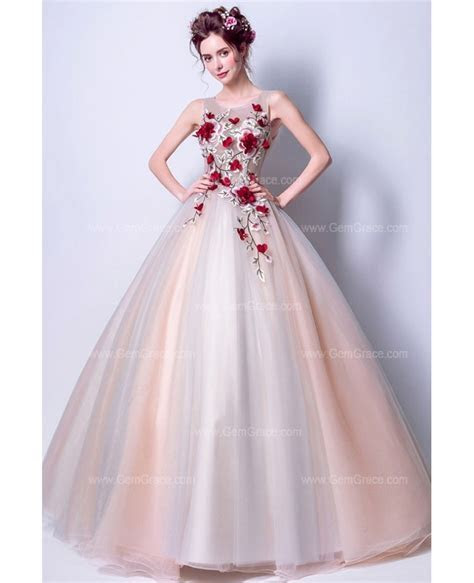 2019 Cheap Floral Ball Gown Prom Dress With Unique