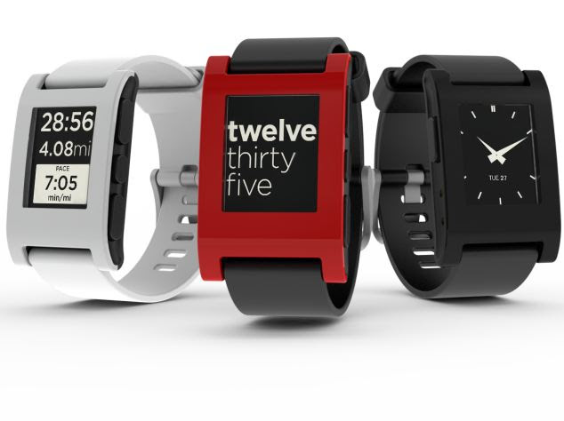 The Pebble watch, which can link to a phone to display messages and run apps.