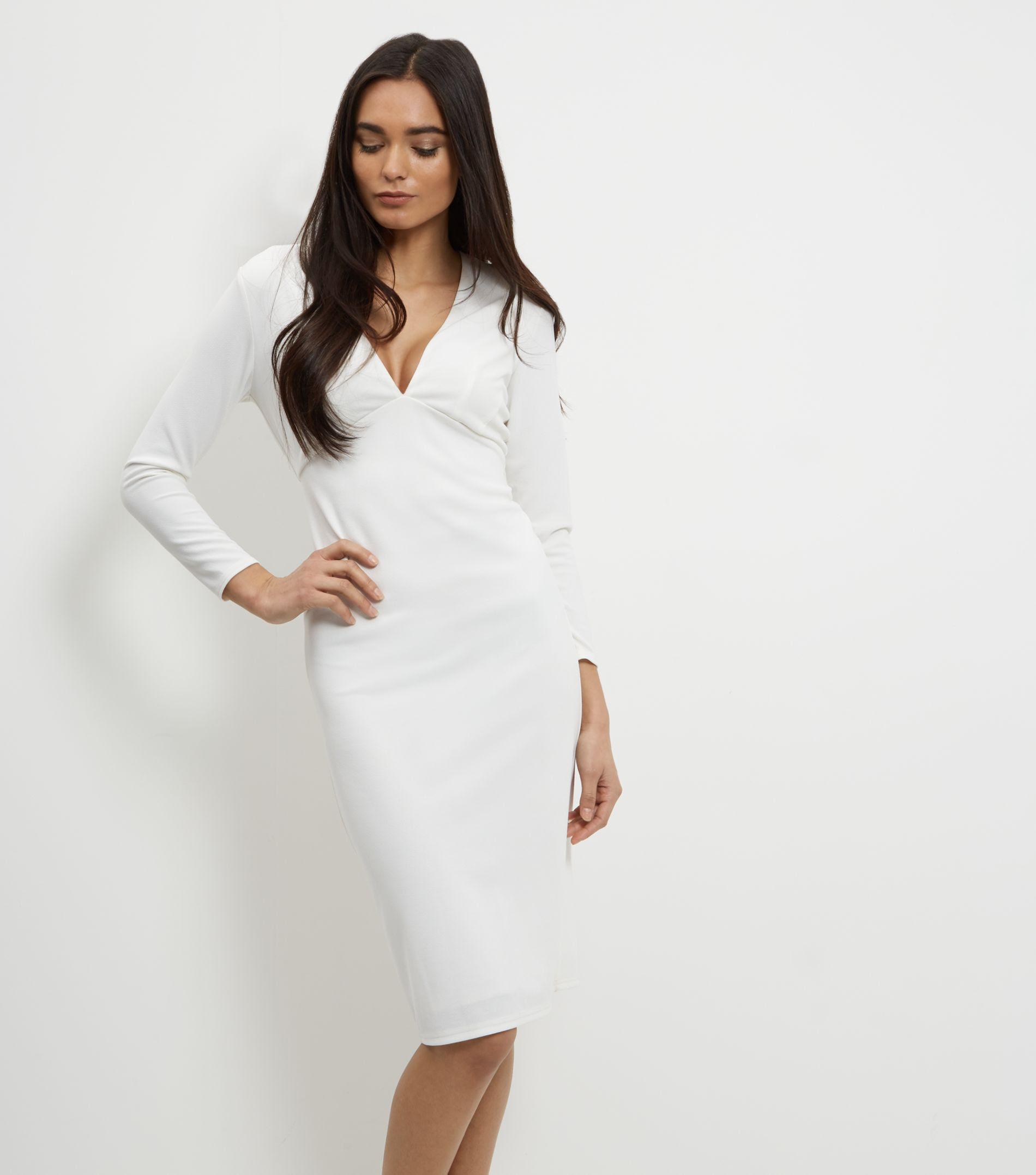 Long sleeve v neck bodycon dress