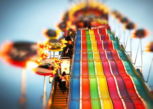 Giant slide small girl