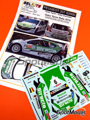 Belkits: Calcas escala 1/24 - Peugeot 207 S2000 Structo Nº 9 - Pieter Tsjoen (BE) + Eddy Chevaillier (BE) - Rally de Ypres de Belgica 2010 - para kit de Belkits BEL-001