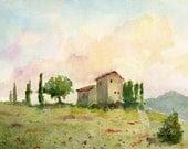 italian landscape- Tuscan Spring- 11x14 watercolor print - bleuherron