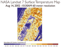 NASA LANDSAT surface temperature map of mid-town Manhattan with Central Park in the center.