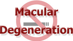 Macular Degeneration and No Smoking sign in background'