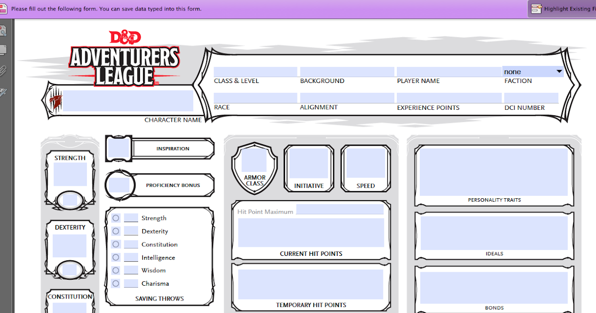 dungeons and dragons fillable pdf character sheet