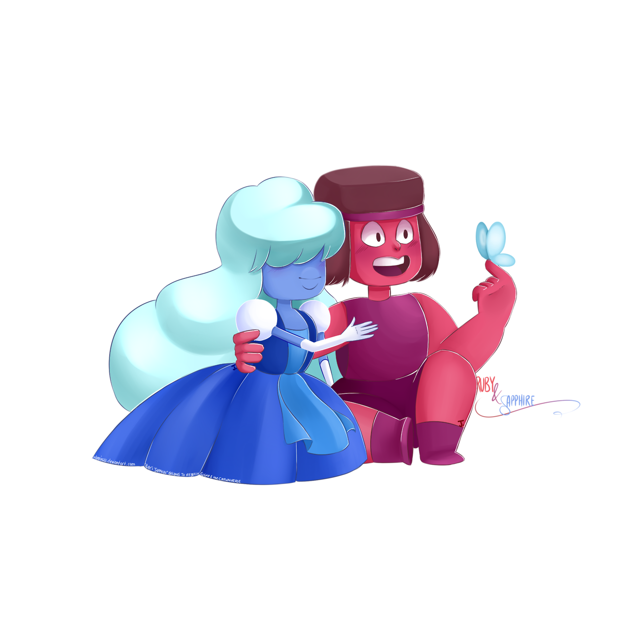 Ruby & Sapphire fanart, because I adore them so much! If you want to take a better look at it, go visit my deviantART page: xluminaa.deviantart.com EDIT: Y'all are awesome, this is the first time...