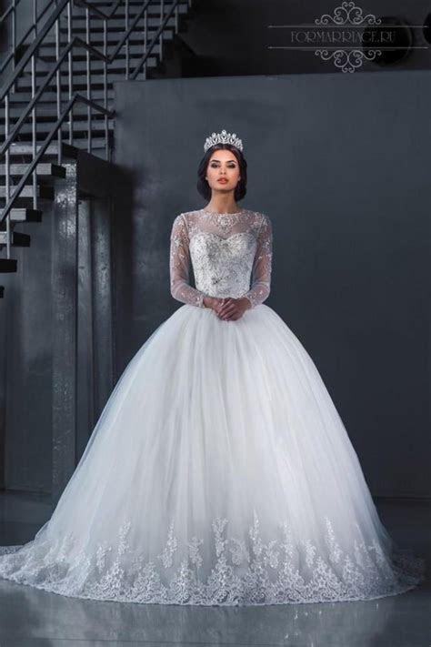 Luxury Crystal Beaded Illusion Wedding Dresses Lace Sheer