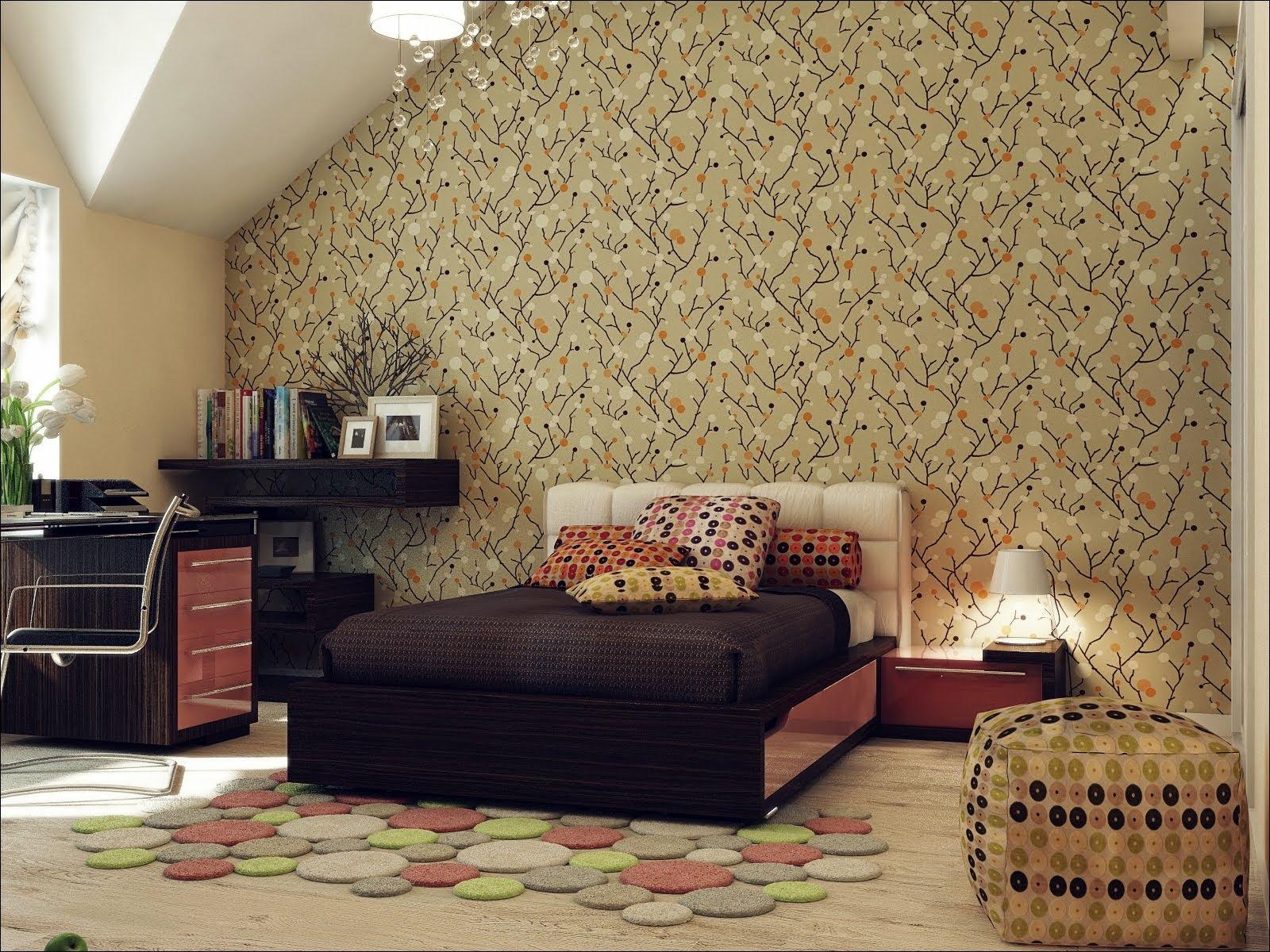 Red Black Beige Bedroom Wallpaperinterior Design Ideas