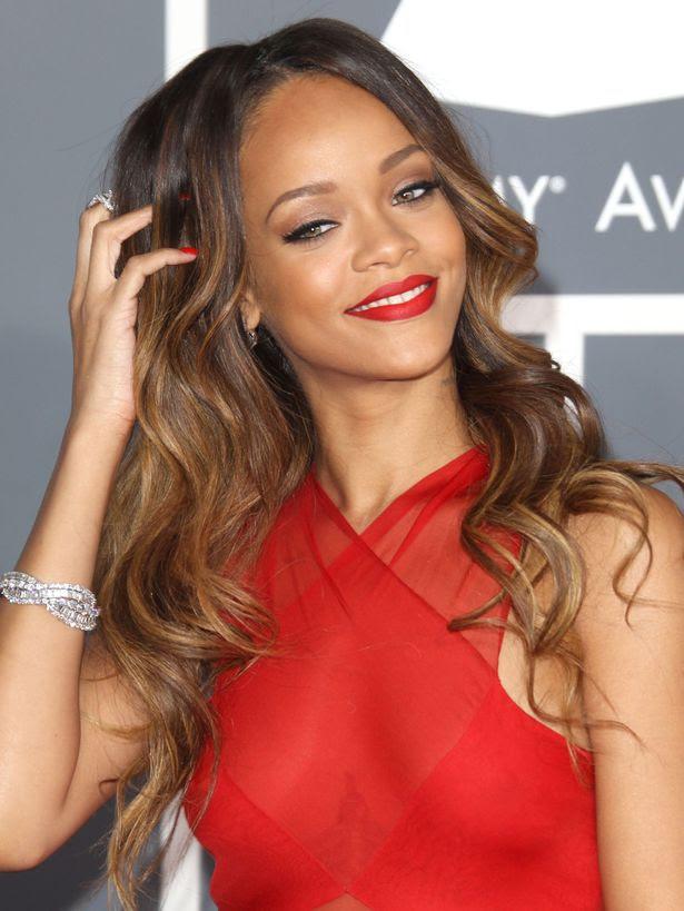 Rihanna arrives at the Grammy Awards 2013 at Staples Center