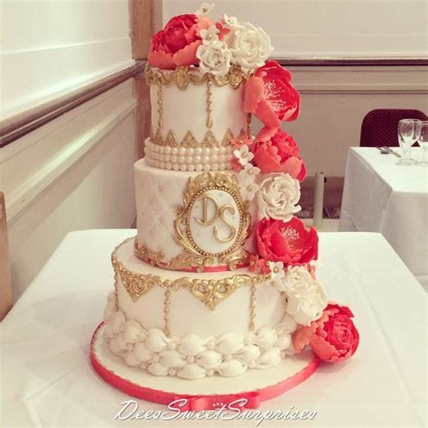 Ivory, Coral And Gold Wedding Cake   CakeCentral.com