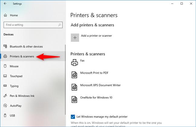 Impresoras y escáneres en la configuración de Windows 10