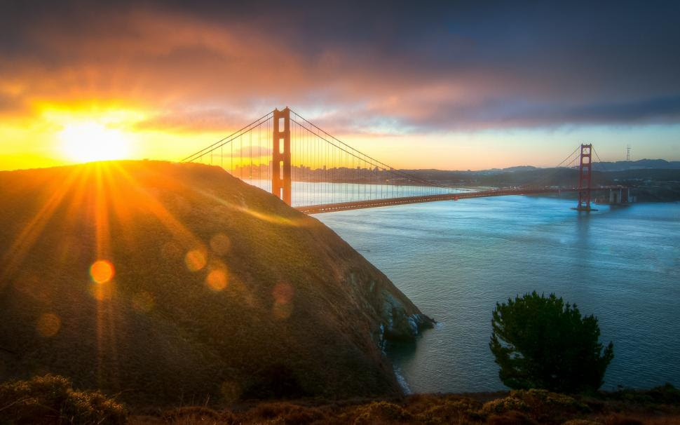 Usa City Golden Gate Bridge Morning Sun Wallpaper Travel And