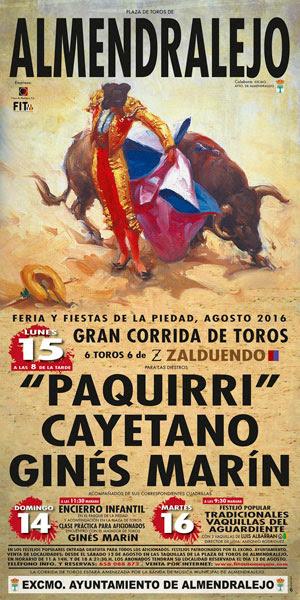 Resultado de imagen de cartel feria taurina de almendralejo 2016