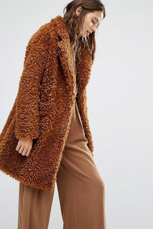 Le Fashion Blog Brown Monochrome Look Textured Teddy Coat Wide Leg Pants Via ASOS