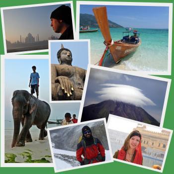 Collage de imágenes sobre nuestro viaje diferente de vuelta al mundo