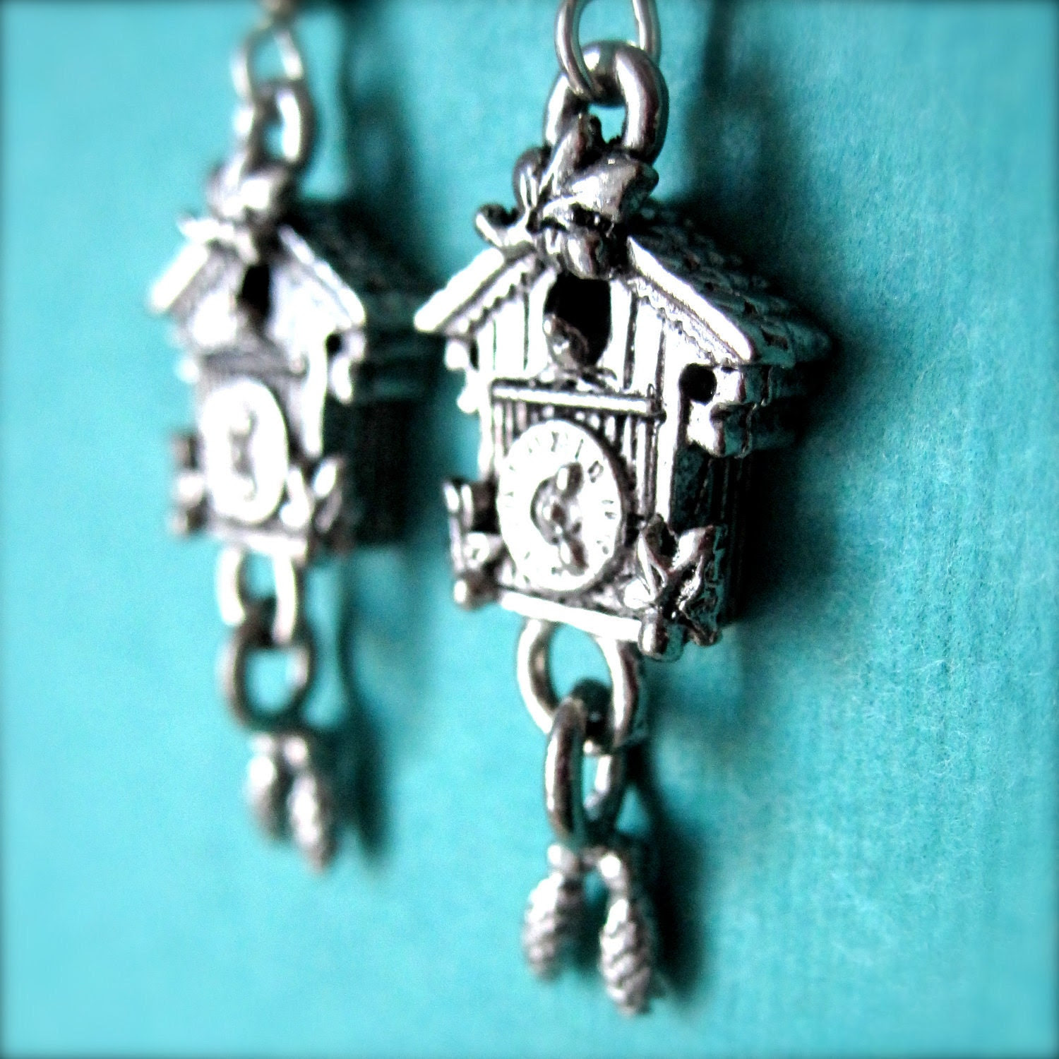 Cuckoo Clock Earrings - Clock Earrings - Silver Dangle Earrings - Whimsical Jewelry