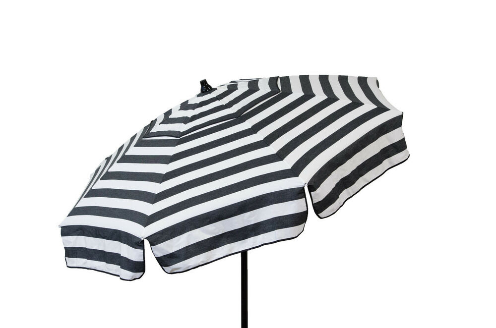 Black and White Striped Italian Patio Umbrella 6' Backyard ...