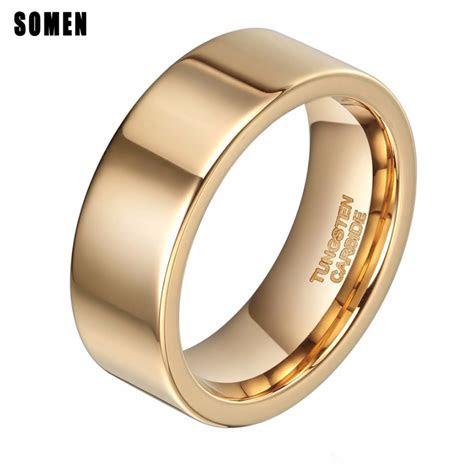 brand luxury mm flat gold ring men tungsten carbide