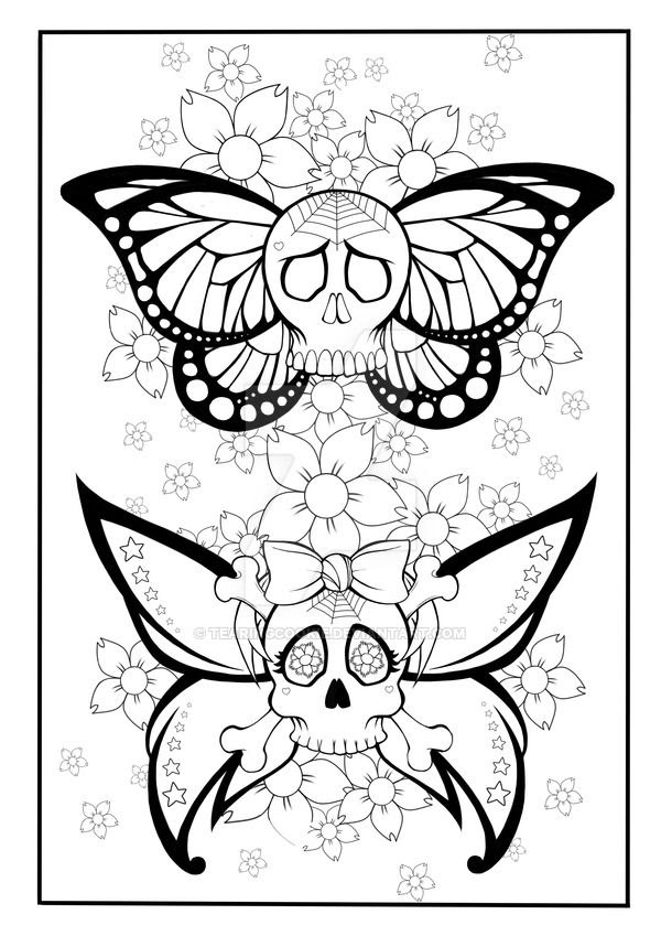 Skull Tattoo Coloring Pages At Getdrawingscom Free For Personal
