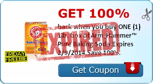 Get 100% back when you buy ONE (1) 1lb. box of Arm & Hammer™ Pure Baking Soda.Expires 2/9/2014.Save 100%.