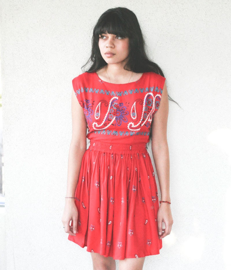 vintage 90's red paisley print cut-out tie back mini dress - small