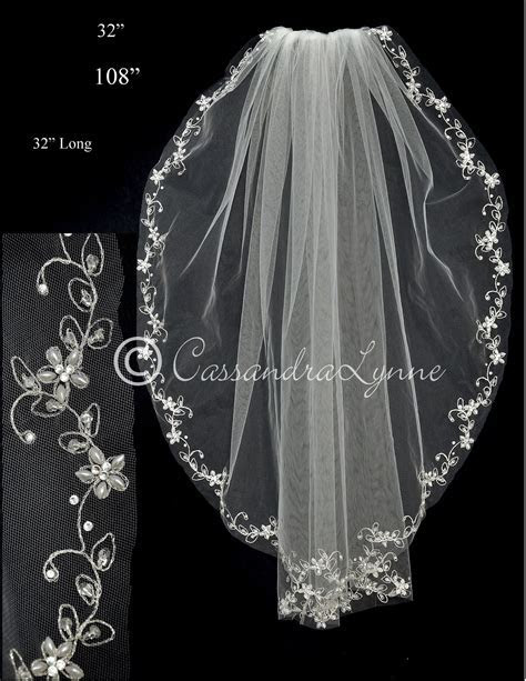 Cathedral Bridal Veil with Pearl Flower Vine Embroidery