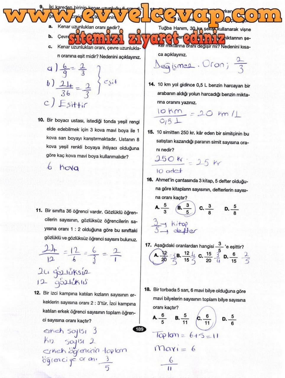 6 Sınıf Matematik Berkay Yayınları Ders Kitabı Cevapları Sayfa 189