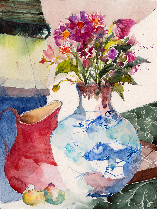 Flowers in the fat fish vase