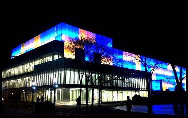 Ryerson's Image Arts building at night. (Source: http://www.flickr.com/photos/geoperdis/6773656055/)