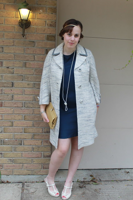 Outfit - Tucker for Target ruffled back dress, vintage gold clutch, Downton Abbey hair, pearls, vintage coat