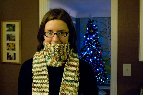 striped scarf with handspun
