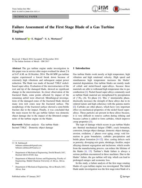 (PDF) Failure Assessment of the First Stage Blade of a Gas