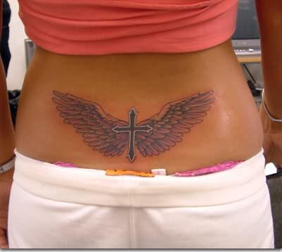 Cross Wings Lowerback Tattoo