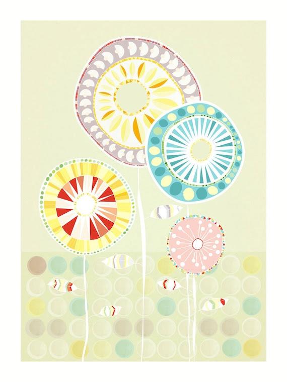 Flowers in green - A4 Art print