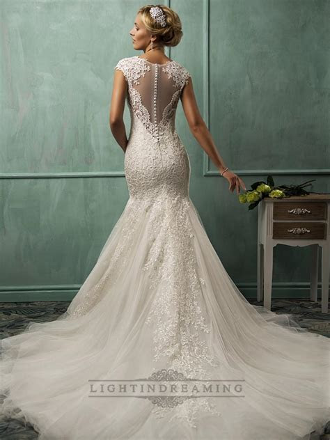 Fit And Flare Cap Sleeves V neck Lace Wedding Dresses With