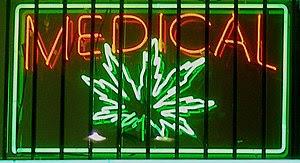 English: Medical marijuana neon sign at a disp...