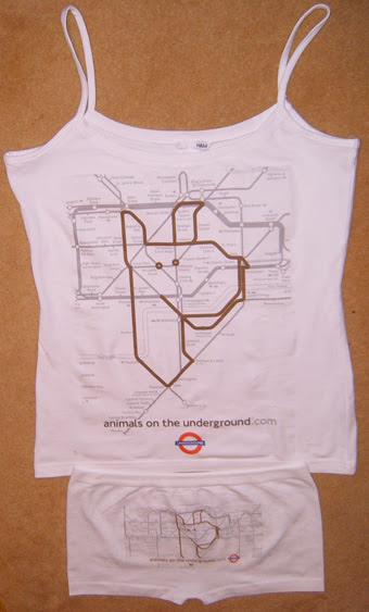 Animals on the Underground Vest and Hipster Knickers
