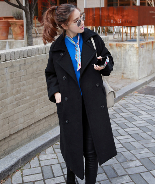 [Miamasvin] Double-Breasted Coat With Pleated Sleeves